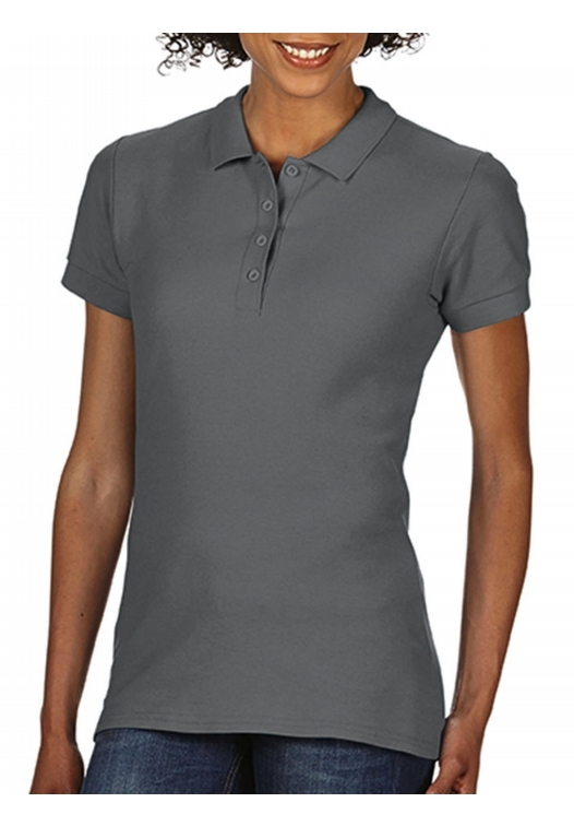 Softstyle Ladies Double Pique Polo_charcoal