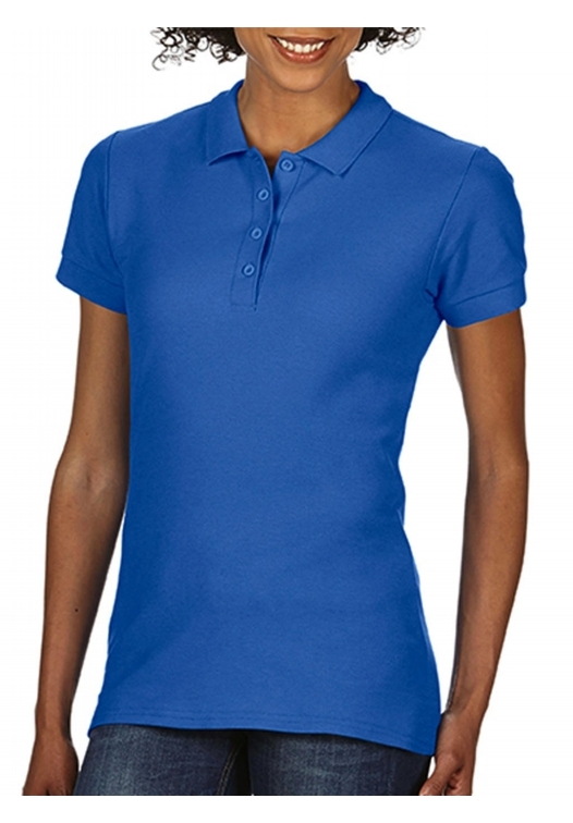 Softstyle Ladies Double Pique Polo_royal