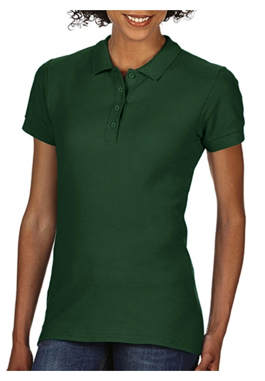 Softstyle Ladies Double Pique Polo_forest-green