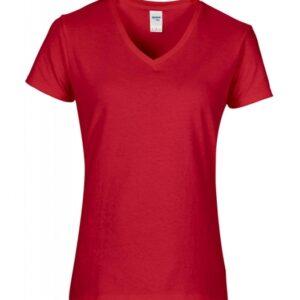 Premium Cotton Ladies V-Neck T-Shirt_red