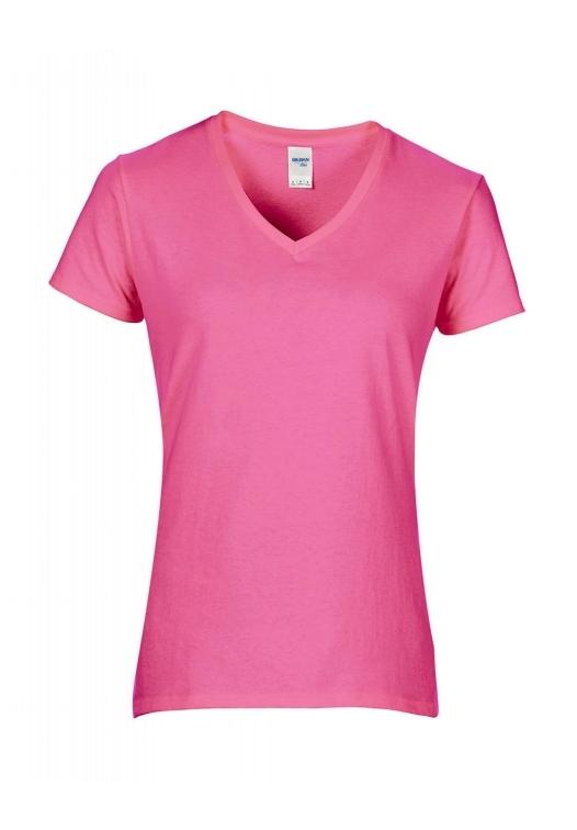 Premium Cotton Ladies V-Neck T-Shirt_azalea