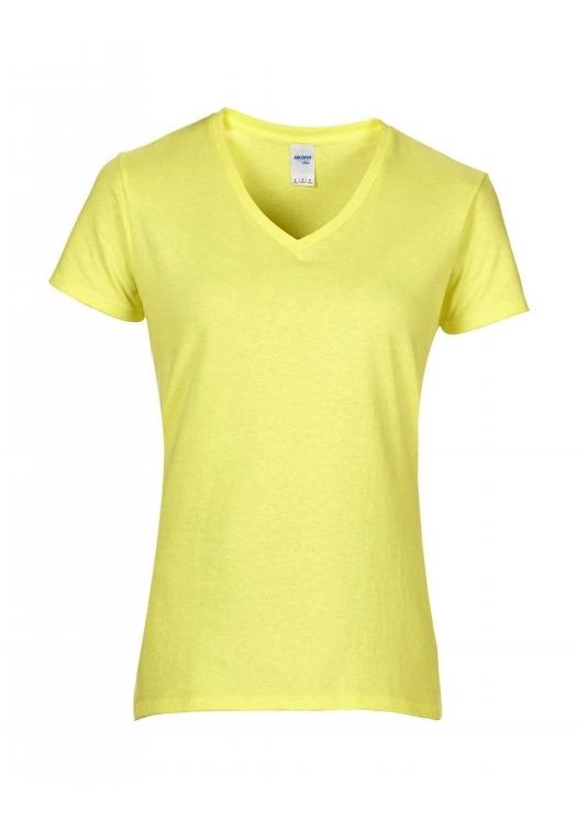Premium Cotton Ladies V-Neck T-Shirt_cornsilk