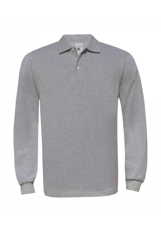 Safran Polo Longsleeve PU414_heather-grey