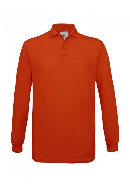 Safran Polo Longsleeve PU414_pumpkin-orange