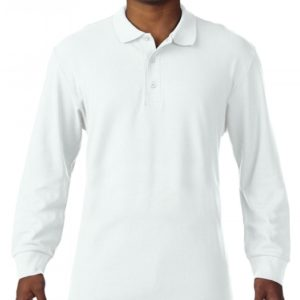 Premium Cotton Adult Double Piqué Polo LS_white