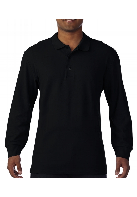 Premium Cotton Adult Double Piqué Polo LS_black