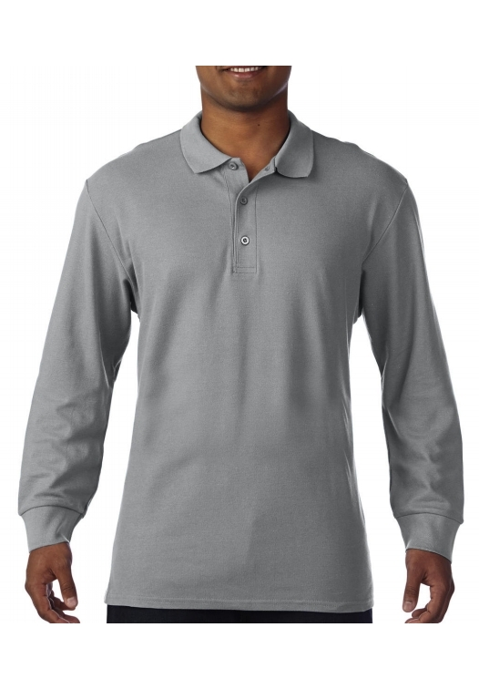 Premium Cotton Adult Double Piqué Polo LS_sport-grey
