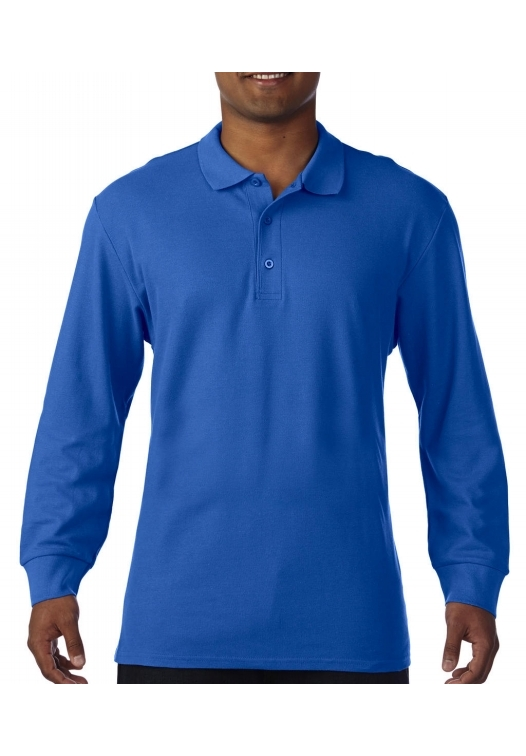 Premium Cotton Adult Double Piqué Polo LS_royal