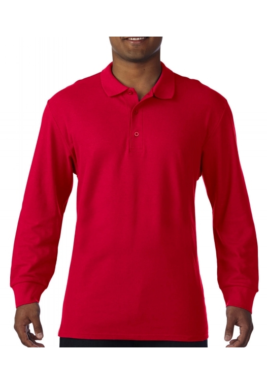 Premium Cotton Adult Double Piqué Polo LS_red