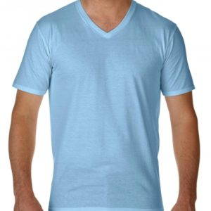 Premium Cotton Adult V-Neck T-Shirt_light-blue