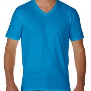 Premium Cotton Adult V-Neck T-Shirt_sapphire