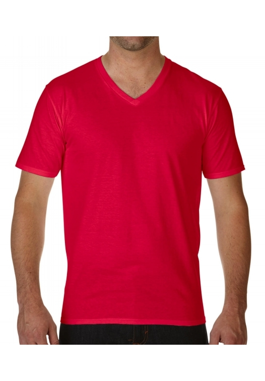 Premium Cotton Adult V-Neck T-Shirt_red