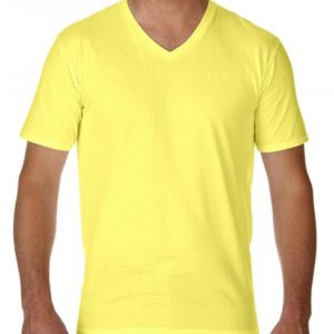 Premium Cotton Adult V-Neck T-Shirt_cornsilk