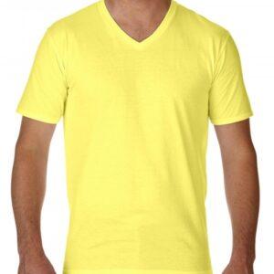 Premium Cotton Adult V-Neck T-Shirt_cornsilk
