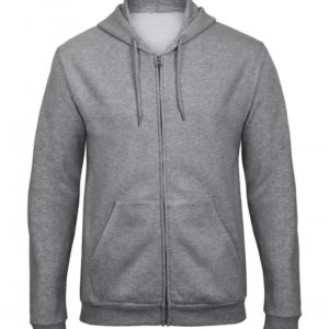 Hooded Full Zip Sweatshirt Unisex WUI25_heather-grey
