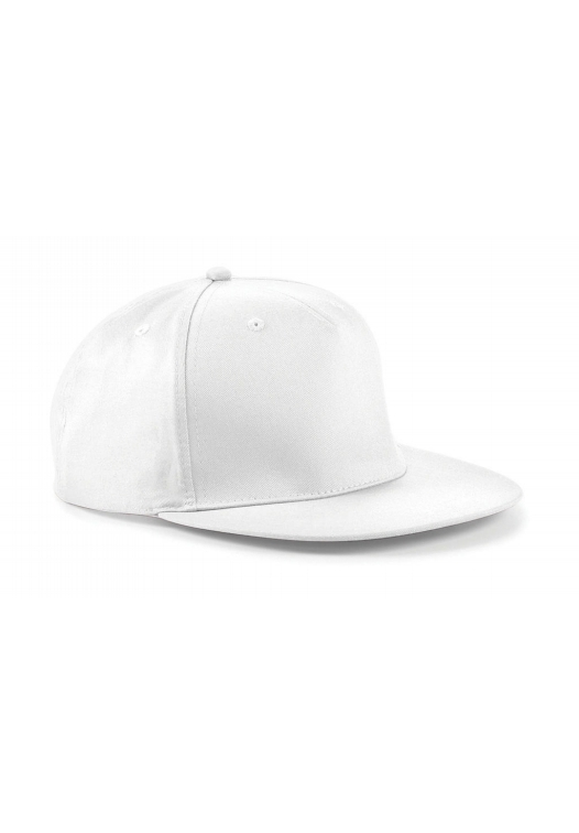 5 Panel Snapback Rapper Cap_white