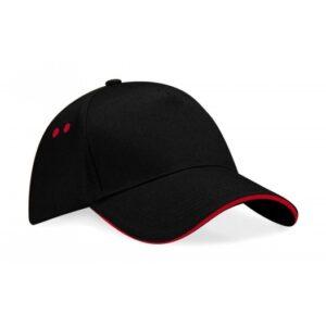 Ultimate 5 Panel Cap – Sandwichschirm_154_black-classic-red