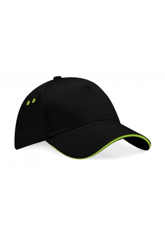 Ultimate 5 Panel Cap – Sandwichschirm_157_black-lime-green